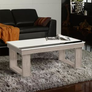 TABLE BASSE Table basse relevable Chêne clair/Blanc - UPTO - L