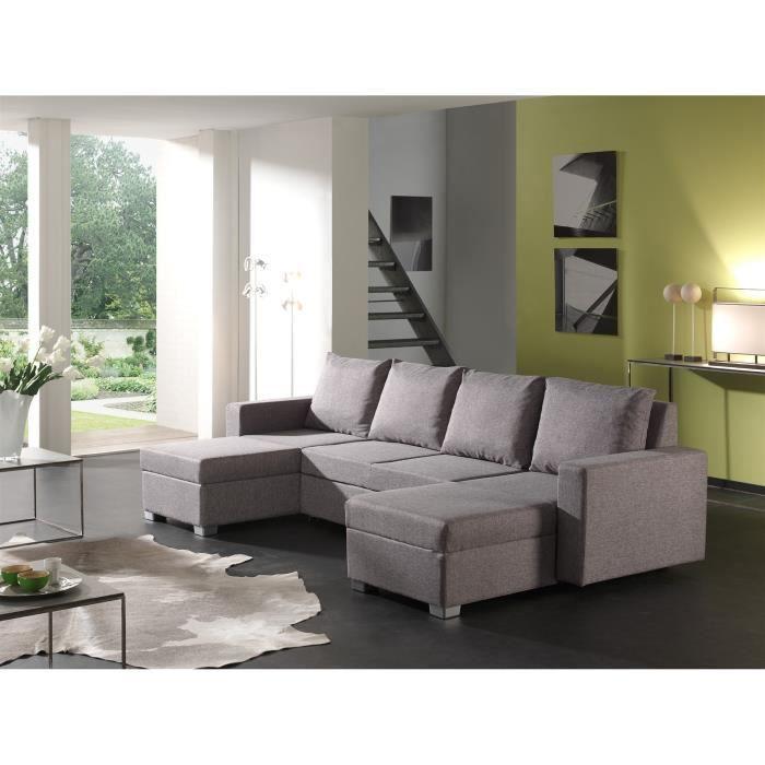 canap d 39 angle convertible en u tissu gris achat vente canap sofa divan cdiscount. Black Bedroom Furniture Sets. Home Design Ideas