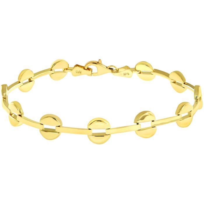 9 Ct ronde or jaune Split et Bracelet lien Longueur 19 cm 1UMLR0