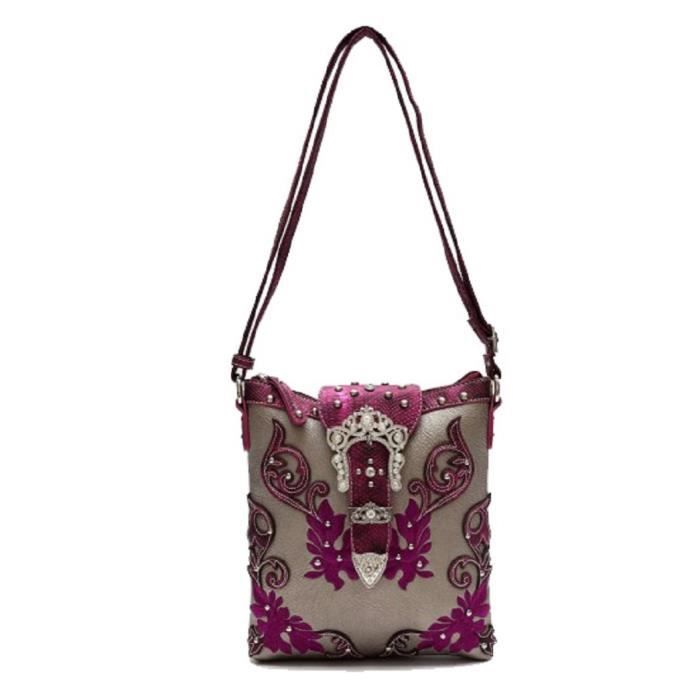Ouest Scroll Art Couronne Bling Boucle Conceal Carry Sac bandoulière QCH0A