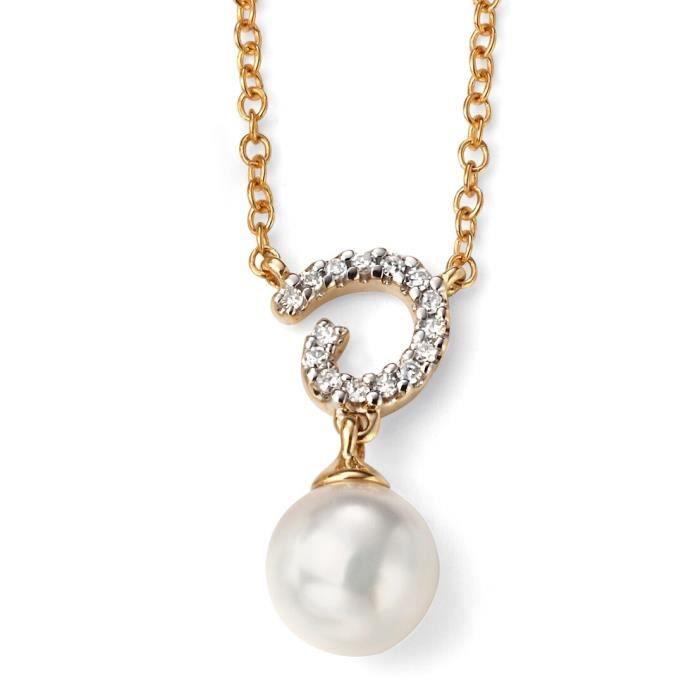 D240c - Jolie collier tendance perle et diamant en Or jaune 375/100