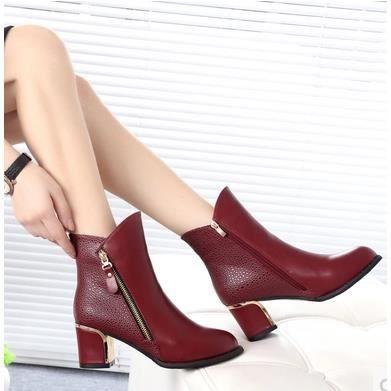 Les nouvelles bottes femmes épais avec Martin bottes Duantong bottes de chaussures pour femmes, rouge 36