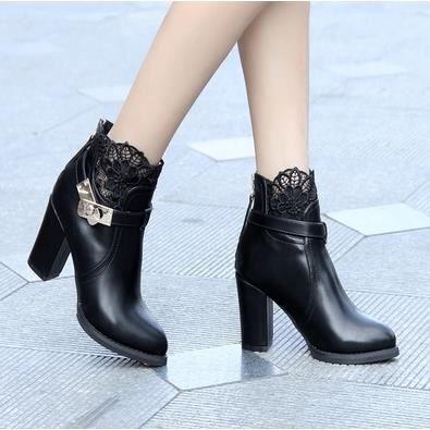 Chaussures à talons hauts chaussures de dentelle de la femme épais avec Martin bottes, noir 37