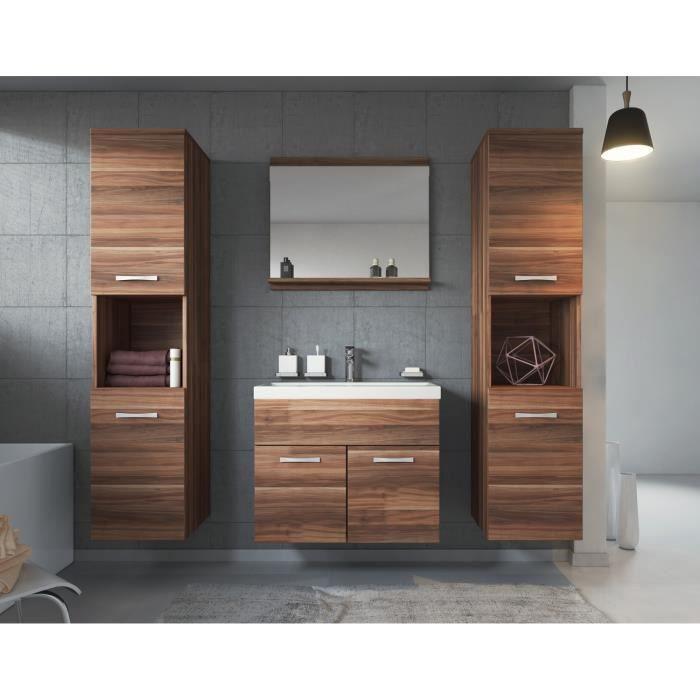 meuble de salle de bain de montr al xl 60 cm bassin en bois noyer armoire de rangement meuble. Black Bedroom Furniture Sets. Home Design Ideas