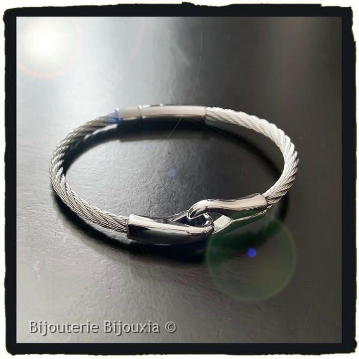 9d23d0f2baa Bracelet Jonc HOMME Câble Acier Inoxydable Bijoux Homme NEUF Acier - Achat    Vente bracelet - gourmette Bracelet Jonc HOMME Câble A Homme Adulte Gris  - Cd