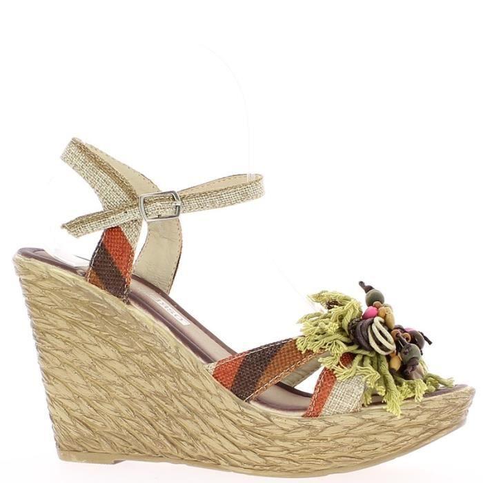 Sandales compensées femme taupes à talon de 10,5cm fleur Marron ... 98c18c64a783