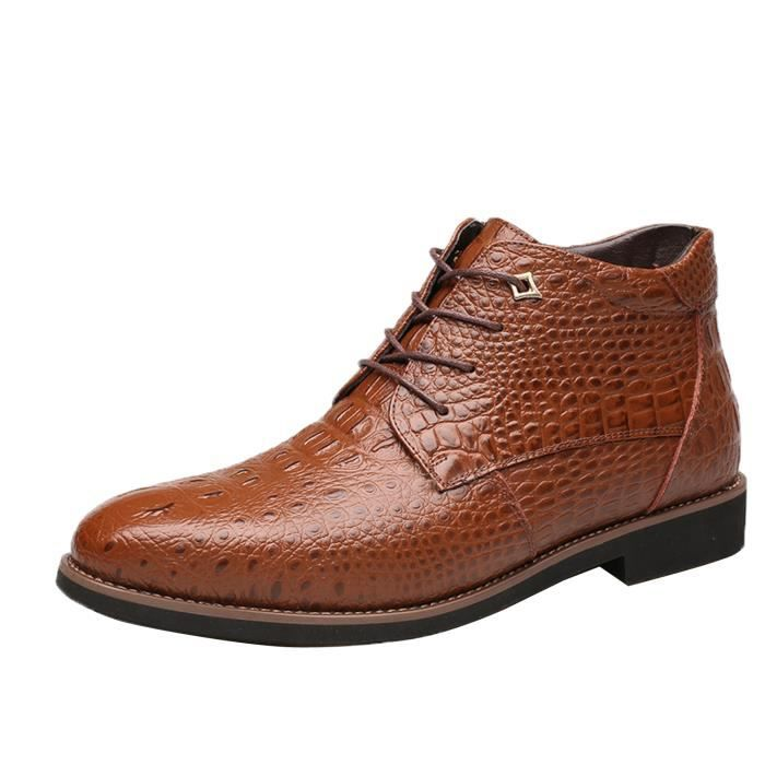 Boots Hiver Mode Homme Chaussure Cuir Montante ... Aau4so