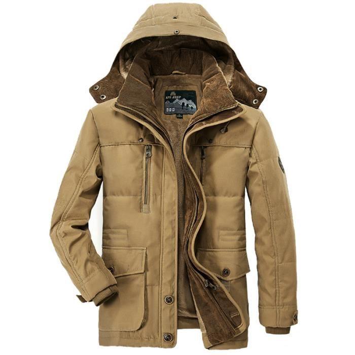 revendeur 0589a 8cd16 manteau longue homme a capuche a la mode de plus de velours et manteau  Épaississant Vêtement Masculin