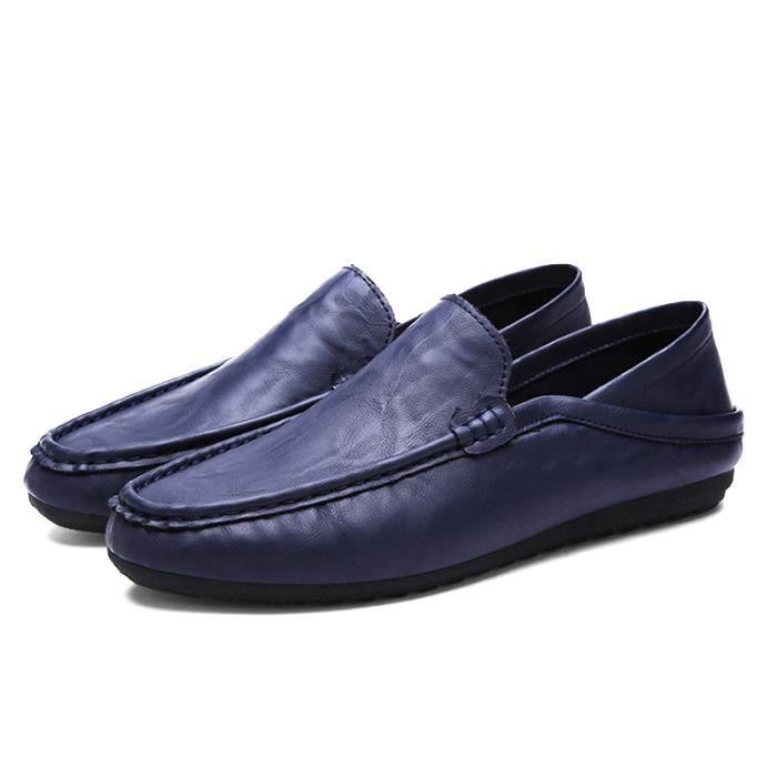 Chaussure Homme Qualité Supérieure Mode Occasionnelles Plat En Cuir Souple Ventes Chaudes Respirant Confortable Bleu 44