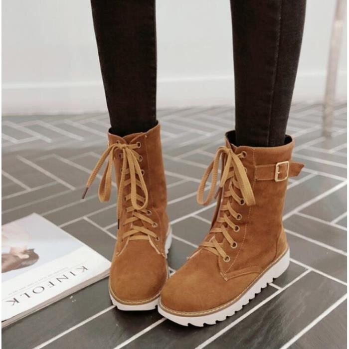 Femme Hiver Chaud Bottes de Neige Décontractée Chaussures à Lacets Talon Plat Toison Doublé Martin Bottes
