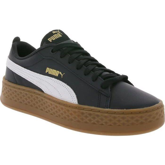 Puma Smash platform Noir cuir - Chaussures Baskets basses