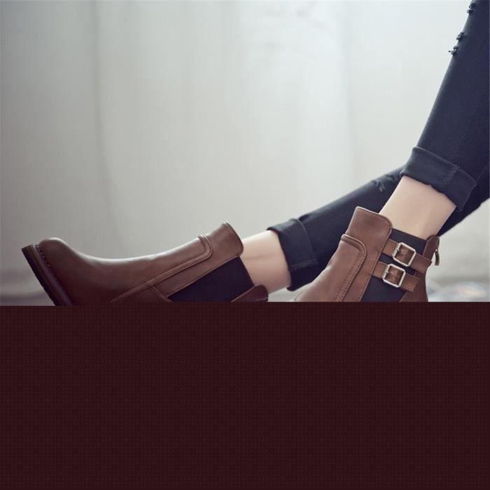 CUSSELEN Bottes Talons Elégant Classique Hiver résistantes à l'usure Meilleure Qualité Rétro Femme Chaussure Beau Adulte