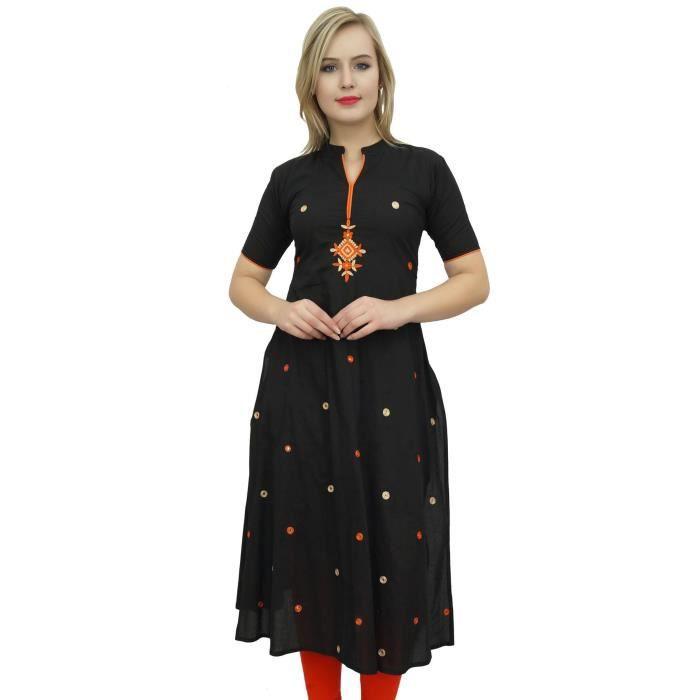 6263dfc51d6 Designer bimba femmes noir ethnique une ligne brodé indien kurti  décontracté Noir Noir - Achat   Vente tunique - Cdiscount