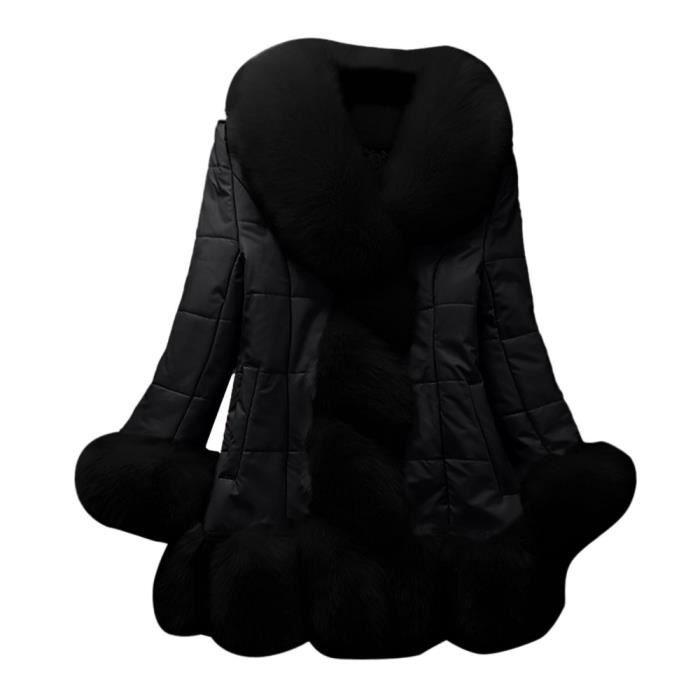 En Veste noir Bas Élégante Le Fourrure vêtement Vers Chaud Doudoune Manteau Fausse Splice Femmes Longue wCzO6qE
