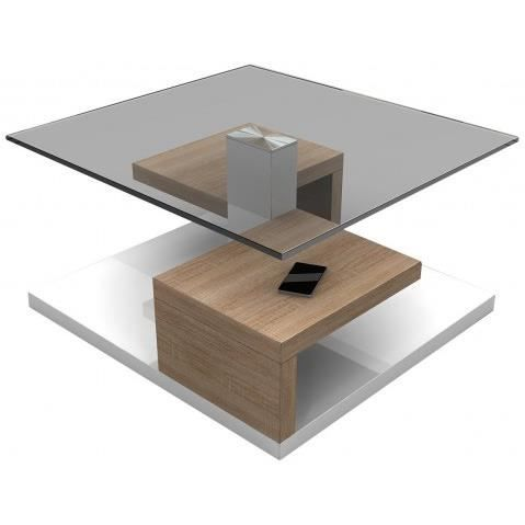 Table basse design blanche laquee et bois avec plateau en for Table laquee blanche