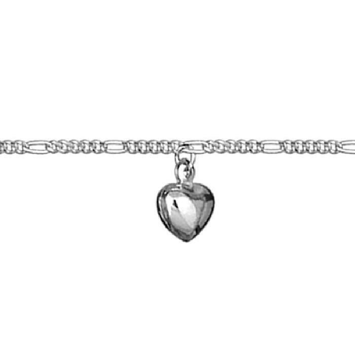 Chaîne de Cheville 23 cm Pampille Coeur Argent