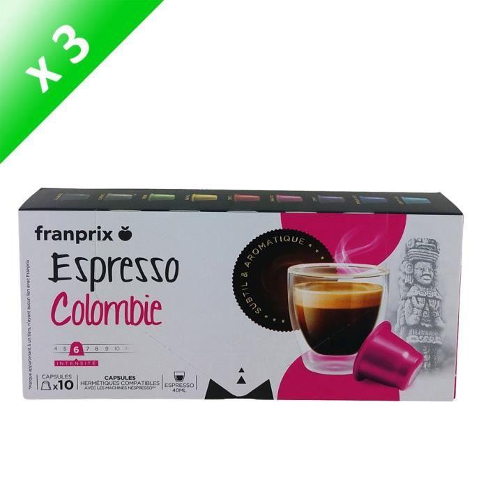 CAFÉ - CHICORÉE FRANPRIX Café Espresso Colombie - 3x 10 capsules