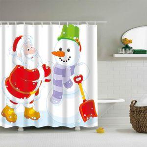 RIDEAU DE DOUCHE Tissu imperméable à l'eau et 12 crochets de rideau