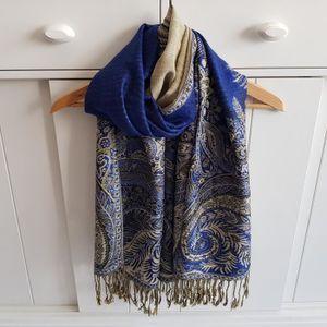7b086411572 ECHARPE - FOULARD Etole Chale Echarpe Pashmina Bleu Saphir Réversibl