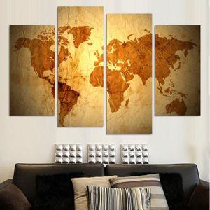 OBJET DÉCORATION MURALE feuille 4 morceaux de peinture murale monde contin