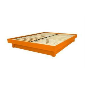 STRUCTURE DE LIT Lit plateforme bois massif pas cher (Orange - 140x