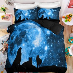HOUSSE DE COUETTE SEULE  Parure de lit Attrape de rêve loup galaxie 3D eff