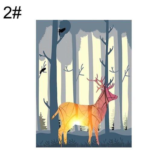 Forêt Deer Nordic Sans Cadre Toile Peinture Mur Art Salon Salle De ...