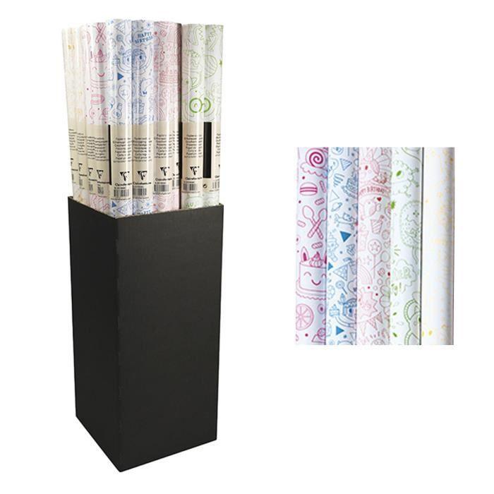 CLAIREFONTAINE Rouleau papier cadeau Excellia C'est la fête - 2 x 0,7 m - 90 g / m² - 5 visuels assortis sous film