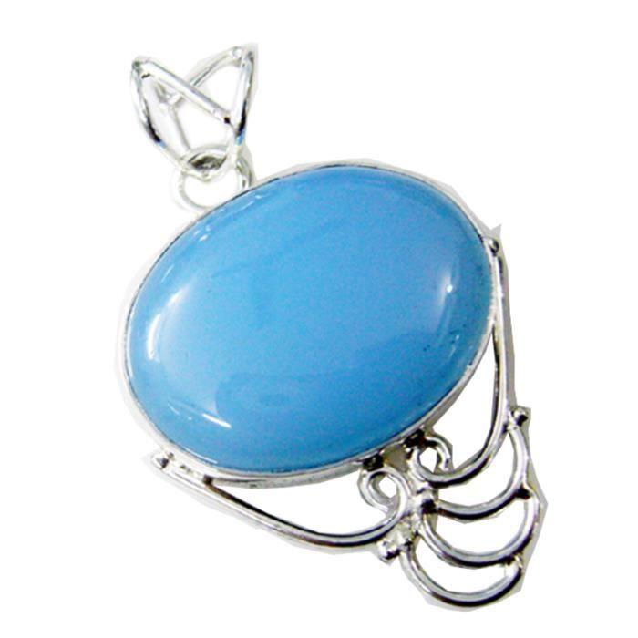 Calcédoine Pendentif - Pendentif - Pendentif Bleu - Bleu pendentif en argent