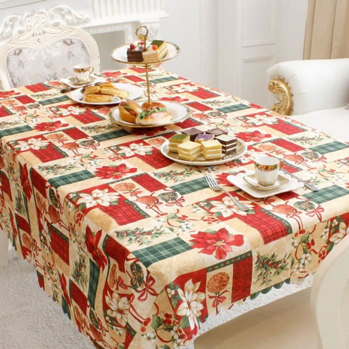 Nappe de Table Rectangulaire Noël Décoration Table Maison Anti ...
