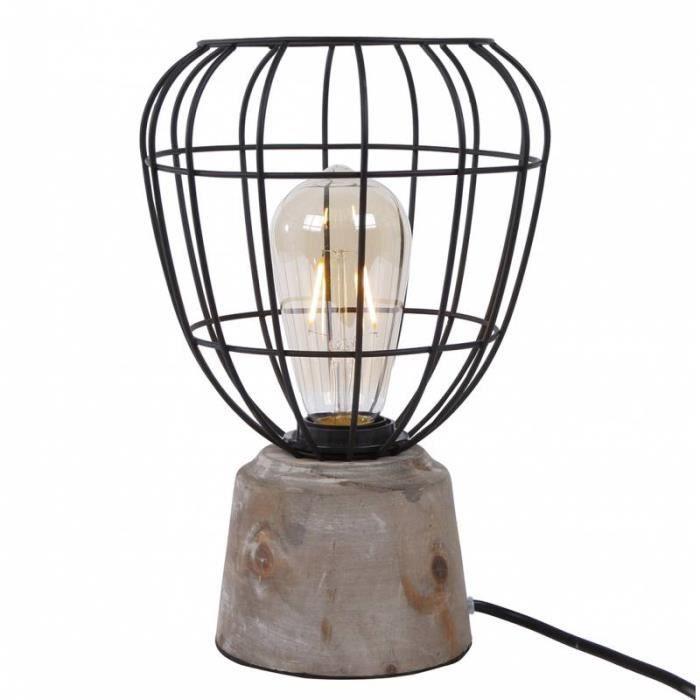 Bois Métal Poser En Et Lampe Bureau Luminaire Multicolore Table Ou De Chevet À Noir Socle Patiné D'ambiance 18x18x28cm DH2E9I
