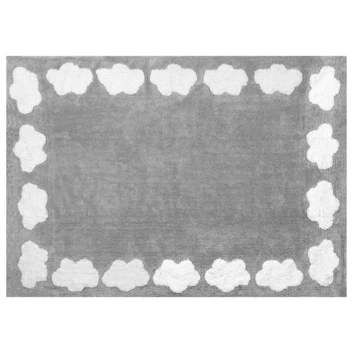 Lilipouce Tapis enfant coton gris nuages blancs 120x160 cm Gris