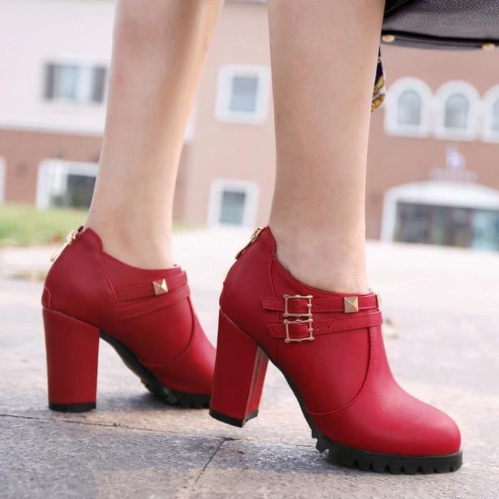 bottes courtes-Pure Color talon haut talon épais de femmes avec des bottes Retour Fermetures Band cheville