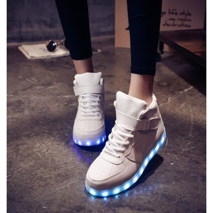 Mixte Blanc Mode 11 chaussures LED 8 multicolors USB rechargeable