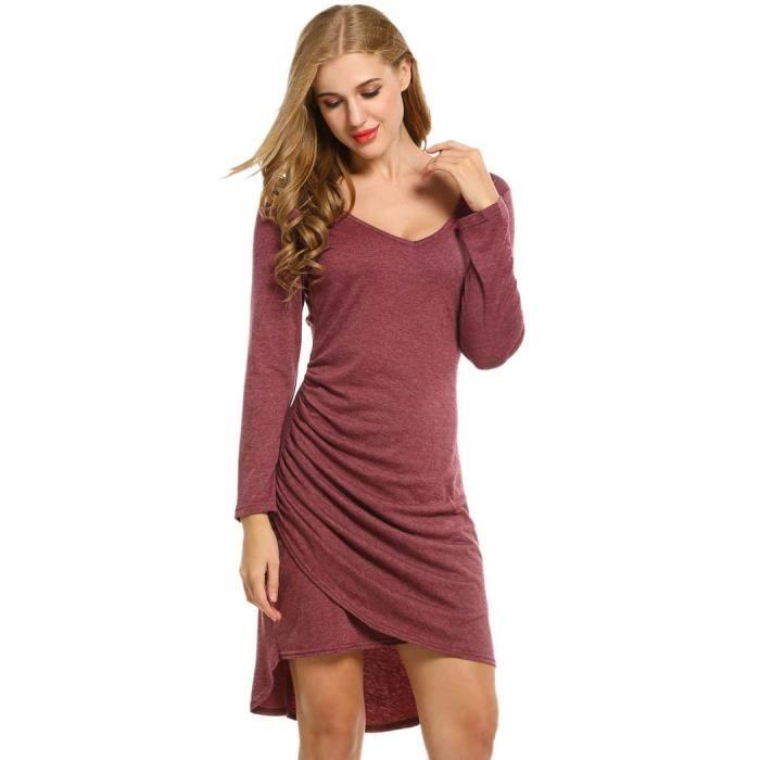 02d45473275e Robe Femmes robe de soirée manches longues col v Faux Wrap ruché ...