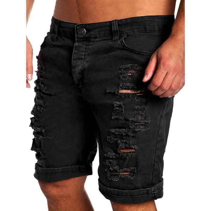 short sport hommes toile de jean avec trous noir noir. Black Bedroom Furniture Sets. Home Design Ideas