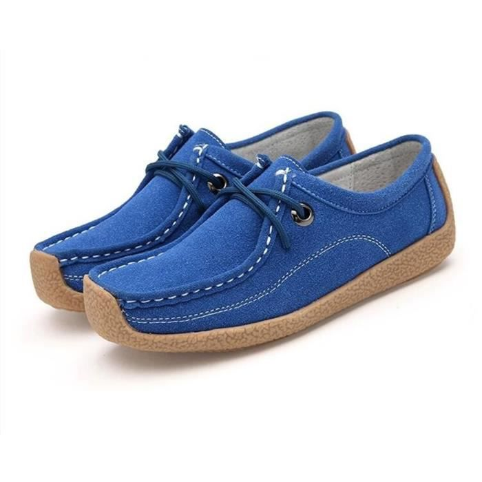 Moccasins femmes Extravagant Moccasin femme résistantes à l'usure Chaussures décontractées Respirant Plus De Couleur 35-40,bleu,35