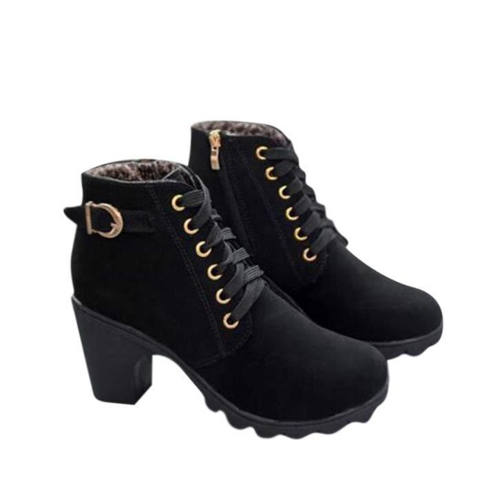 Bottine Femme Automne Hiver Haute Qualité High-heeled bottillons BZH-XZ016Noir35