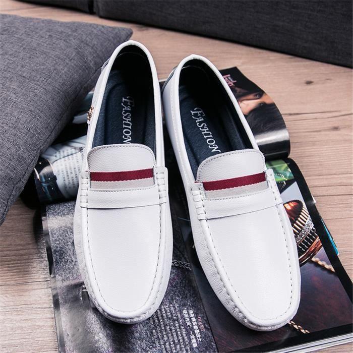Cuir marron Confortable Super noir Durable Arrivee Hommes Meilleure Qualité Chaussures Blanc 44 Moccasins 38 Nouvelle BqW6Fa8