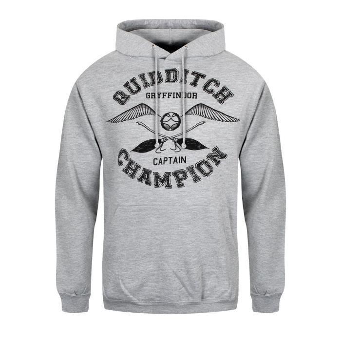 56f72d8838e8 Harry Potter Sweat à capuche Quidditch Champion Homme Gris Gris Gris ...