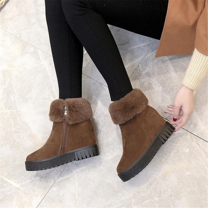 Bottes de femmes Martin bottes imperméables et velours épais fond chaud chaussures de neige