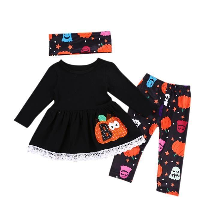 4e5fd77280 3PCS-Set Ensemble Vêtements Bébé Fille Robe Manches Longues + Pantalons +  Tour de Cou Costume Halloween