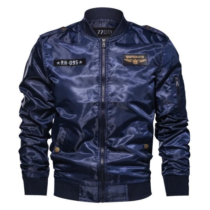 Militaire Manches À Zipper Veste Longues Manteau Vêtements Bleu Homme Décontractée Automne Hiver xwYXTzqOv