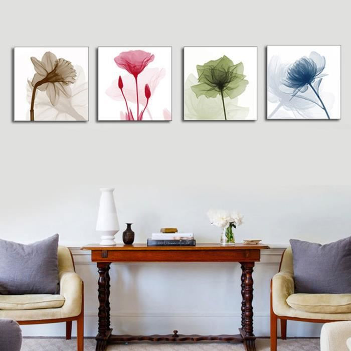 4pcs Colorés Peinture A L\'huile Tableau Toile Abstrait Lotus Fleur ...