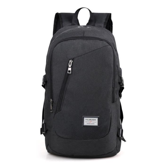 Hommes 15Sac à dos pour ordinateur portable de grande capacité Sac à dos avec USB Port de charge, Noir