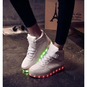 Mixte rechargeable chaussures multicolors LED 8 11 Blanc USB Mode Aq8x4Ar