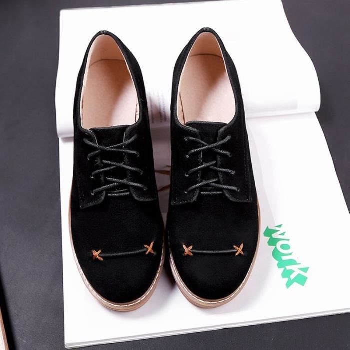 Chaussures Femme Nouvelle mode confortable Couleur Solide Lacet La tête de
