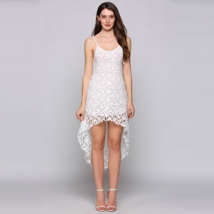 robe dentelle de plage sans manches creux à ourlet asymétrique sortir