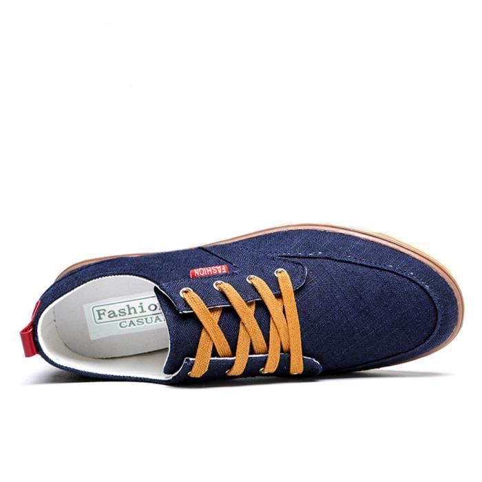 Chaussures Homme Respirant Occasionnels chaussures Low Top Hommes Toile Chaussures Classique M?le Appartements Chaussure Taille 38