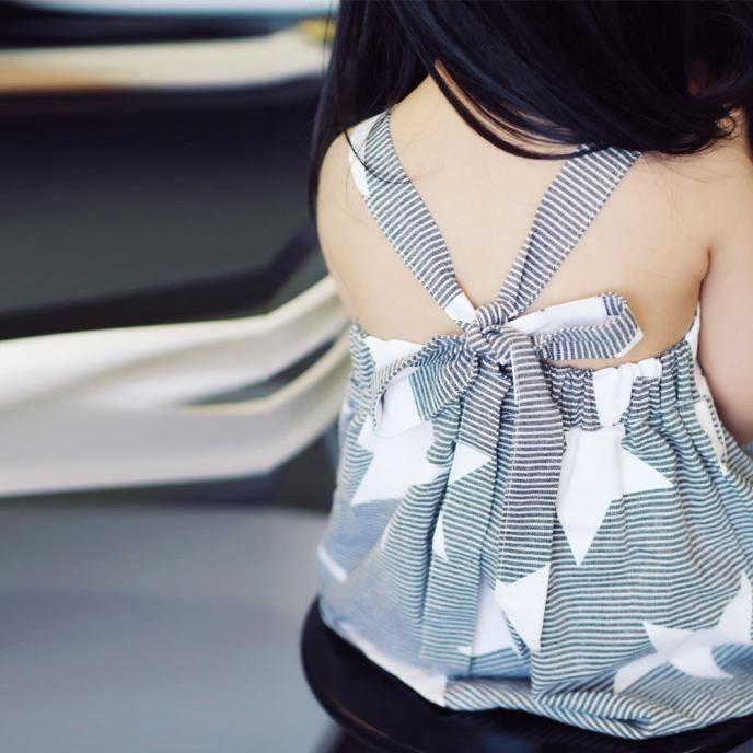 Gris Ceinture Stripe Condole Enfants Été Backless Etoiles Lacée Filles Adorables Robe T6xvxnA